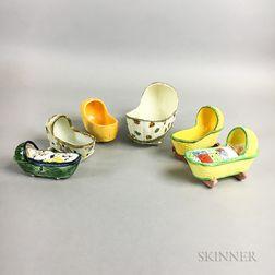 Six Staffordshire Ceramic Cradles