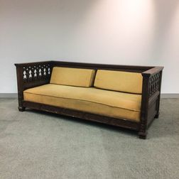 Gothic Revival Carved Oak Box Sofa