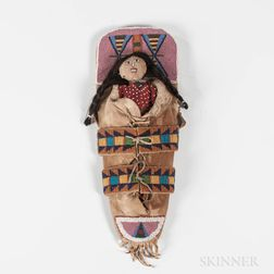 Northern Plains Model Beaded, Wood and Hide Cradle