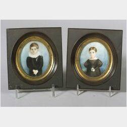 American School, 19th Century  Pair of Miniature Portraits of the Polhomus Children.