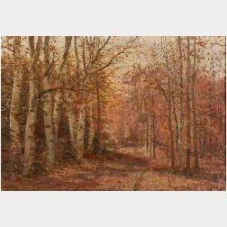 William Preston Phelps (American, 1848-1923)  Autumn Birches