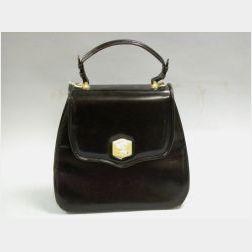 Barry Kieselstein-Cord Gilt-metal Mounted Brown Leather Handbag