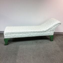 Classical-style Green-painted and Upholstered Pine Chaise Lounge