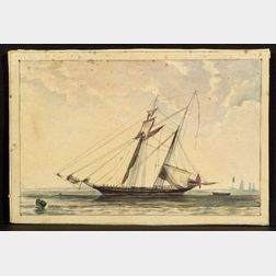 Attributed to Henry Schreiner Stellwagen (American, d. 1866)    Man of War Schooner.