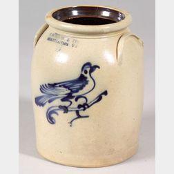 Stoneware Jar with Cobalt Blue Bird