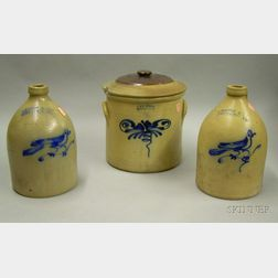 Three Pieces of Norton, Bennington, Vermont Cobalt Decorated Stoneware