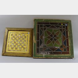 Late Victorian Architectural Leaded Glass Window and a Framed Gold Reverse-painted and Mother-of-pearl Highligh...