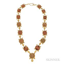 22kt and 18kt Gold and Rutilated Quartz Turtle Necklace, Maija Neimanis