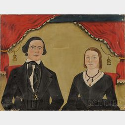 American School, 19th Century      Portrait of a Husband and Wife.
