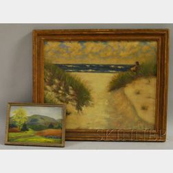 American School, 20th Century      Lot of Two Framed Oil Landscapes: Cape Cod Dunes