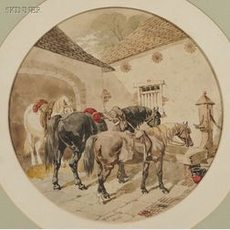 Attributed to John Frederick Herring the Younger (British, 1815-1907)      Horses at a Courtyard Watering Trough