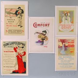 Five 19th/20th Century Magazine Advertising Lithograph Posters