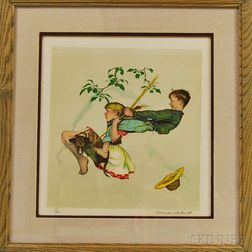 Framed Norman Rockwell Lithograph The Swing