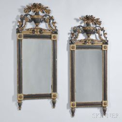 Pair of Continental Neoclassical Parcel-giltwood Mirrors