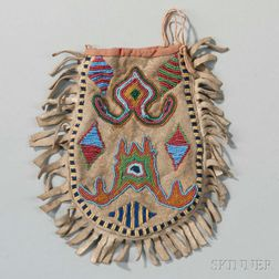 Santee Sioux Beaded Hide Pouch