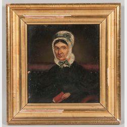 American School, 19th Century       Portrait of Sarah Cheney, Wife of Captain Samuel Hall.