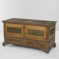 Paint-decorated Poplar Dower Chest