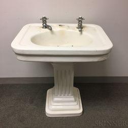 Mott Iron Works Porcelain Sink and Pedestal