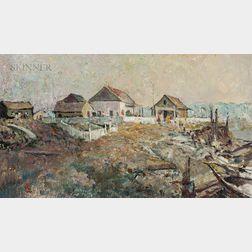 Frank Earle Schoonover (American, 1877-1972)      Hudson's Bay Post at Gull River