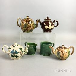 Six Small Staffordshire Glazed Ceramic Items