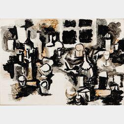 Renato Guttuso (Italian, 1911-1987)      Bottles and Glasses