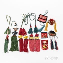 Group of Embroidered Silk Purses and Tassels