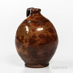 New England Glazed Redware Jug