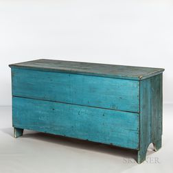 Large Blue-painted Blanket Chest