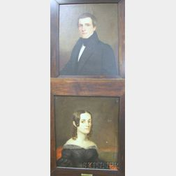 Pair of Framed Oil on Canvas Portraits of a Gentleman and Lady Attributed   to Albert Gallatin Hort