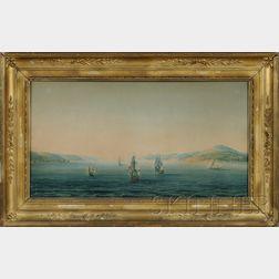 French School, 19th Century      Ships Leaving a Black Sea Harbor.