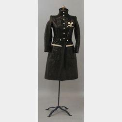 Vintage Courreges Brown Faux-leather Belted Long Jacket