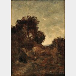 Attributed to Henri-Joseph Harpignies (French, 1819-1916)    Path at Sundown