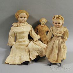 Three Blonde Shoulder Head Dolls