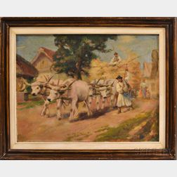 Hungarian School, 19th/20th Century      Team of Oxen Pulling a Hay Wagon through a Village