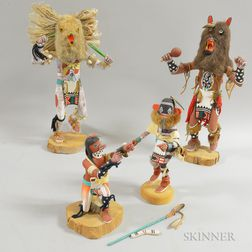 Four Contemporary Polychrome Carved Wood Kachina Dolls