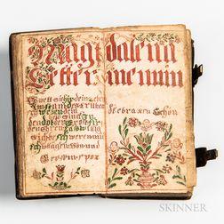 18th Century Germantown Prayer Book with Fraktur Endpaper