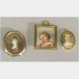 Three Miniature Portraits Pendants