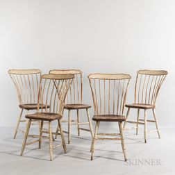Set of Five White-painted Bamboo-turned Step-down Windsor Chairs