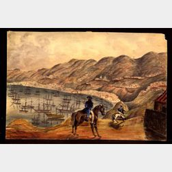 Attributed to Henry Schreiner Stellwagen (American, d. 1866)    Two Watercolor Views of Valparaiso.