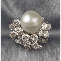 Platinum, Baroque South Sea Pearl, and Diamond Ring