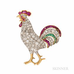 Fine Belle Epoque Rooster Brooch