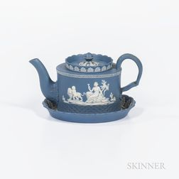 Neale & Co. Solid Blue Jasper Teapot and Stand