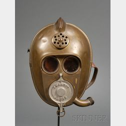 Brass Helmet and Gas Mask