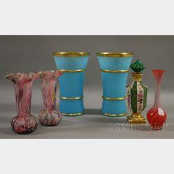 Five Art Glass Vases and a Porcelain Cologne Bottle