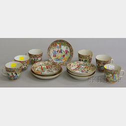 Six Chinese Export Porcelain Rose Mandarin Cups and Six Saucers.