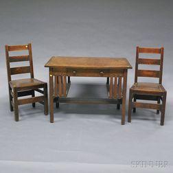 "Arts & Crafts Oak Desk and Two ""Quaint Furniture"" Stickley Bros. Chairs.     Estimate $200-300"