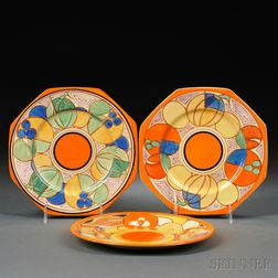 Three Clarice Cliff Hand-painted Plates