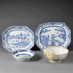 Four Chinese Export Porcelain Tableware Items
