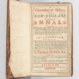 Prince, Thomas (1687-1758) A Chronological History of New-England in the Form of Annals.