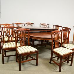 Regency-style Mahogany Extension Dining Table and a Set of Ten Chippendale-style Mahogany Dining Chairs.     Estimate $400-600